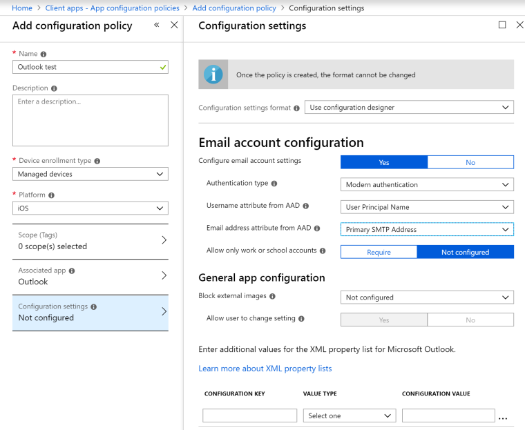 Microsoft updates the (Intune) Outlook App Configuration Policy